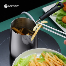 WORTHBUY Mini Frying Pot With Scale 18/8 Stainless Steel Frying Pan For Kids French Fries Chicken Cooking Pan Kitchen Cookware