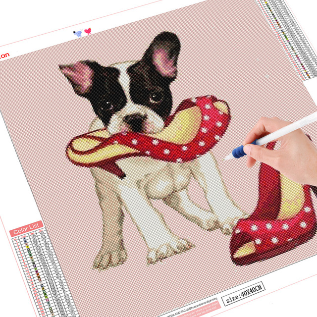 HUACAN Full Square Diamond Painting Cartoon Dog Diamond Mosaic Christmas Gift Embroidery Decor Home