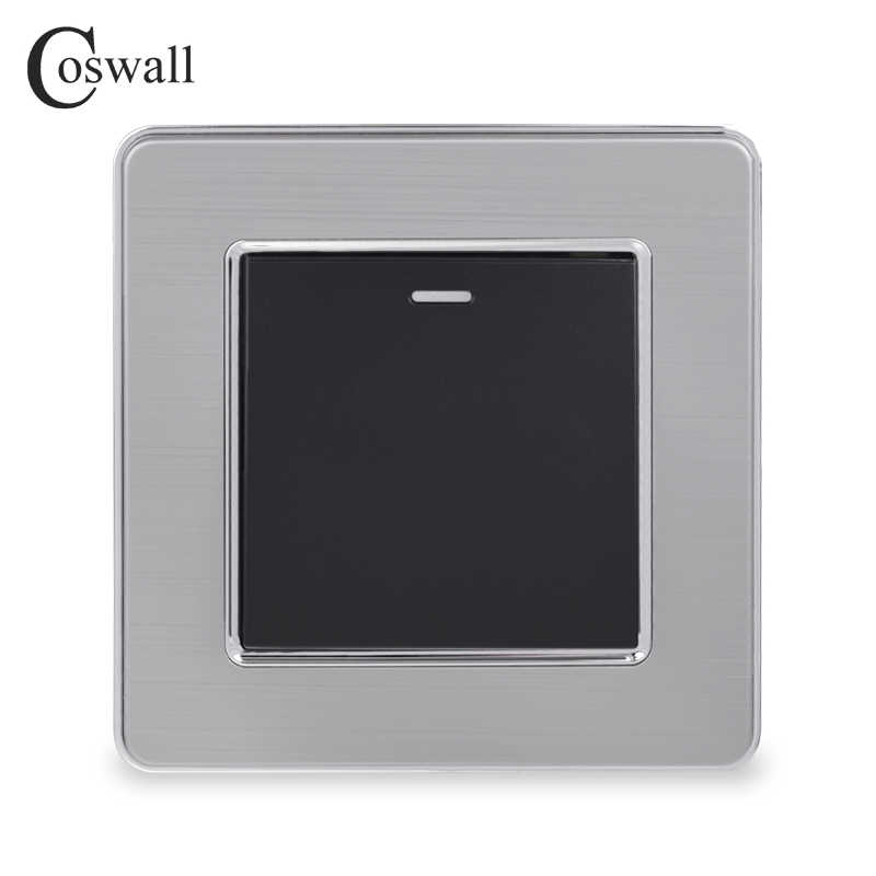 Coswall 1 Gang 1 Cara Mewah Saklar Lampu On/Off Saklar Dinding Interruptor Stainless Steel Panel AC 110 ~ 250V