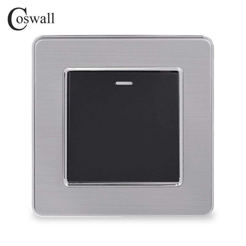 Interruptor de luz de lujo cosmall 1 Gang 1 Way Interruptor de pared de encendido/apagado Panel de acero inoxidable AC 110 ~ 250V