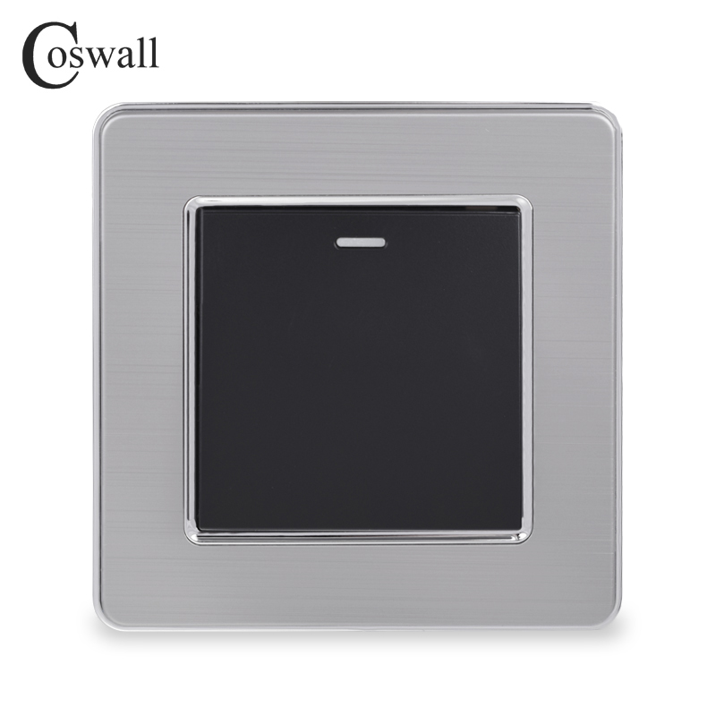 Coswall 1 Gang 1 Way Luxury Light Switch On / Off Wall Switch Interruptor Stainless Steel Panel AC 110~250V