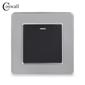 Image 1 - Coswall 1 Gang 1 Way Rocker Light Switch On / Off Wall Switch Stainless Steel Brushed Panel AC 12~250V White Black Gold