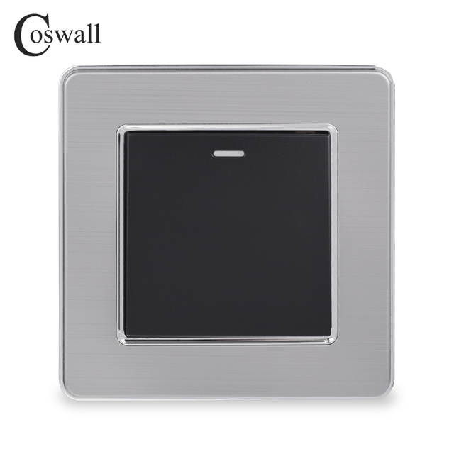 Coswall 1 Gang 1 Way Rocker Light Switch On / Off Wall Switch Stainless Steel Brushed Panel AC 12~250V White Black Gold