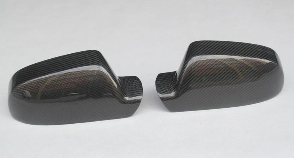 Carbon Fiber Mirror Cover For Audi A4 B8 5 A5 S5 RS5 without Turn Light Signal Add On Style Gloss Black in Mirror Covers from Automobiles Motorcycles