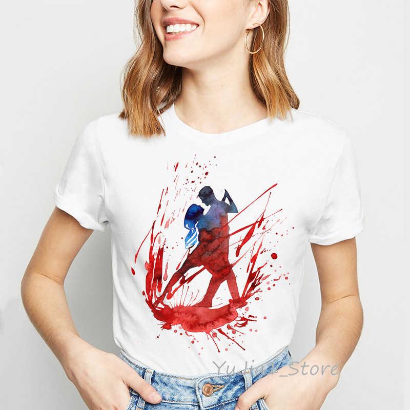 Coppia Ballerina di Danza Della Stampa Della maglietta donne Acquerello Balletto Romantico Design kawaii tumblr t vestiti della camicia top t-shirt femminile