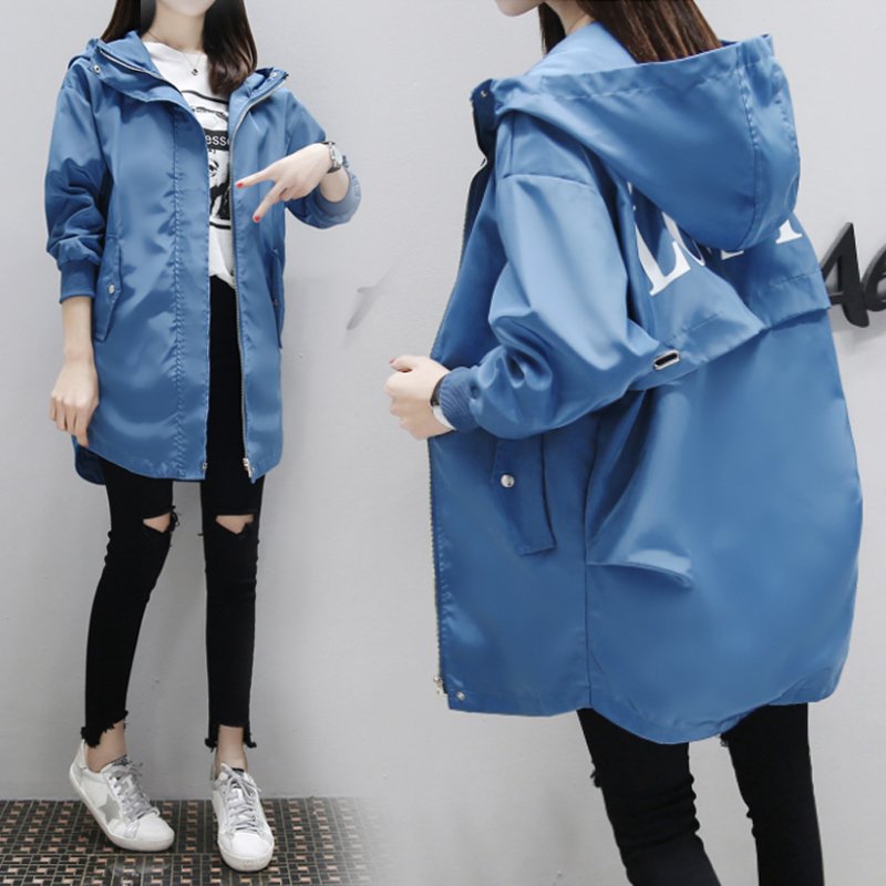 Korea Casual Trench Coat 2019 New Fashion Women Long Sleeved Hooded Letter Printed Medium Long Loose Windbreaker Autumn Coats