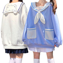 Japonês estilo preppy jk estudante feminino casual moletom gravata bowknot sailor collar urso bordado kawaii hoodies bestie roupas