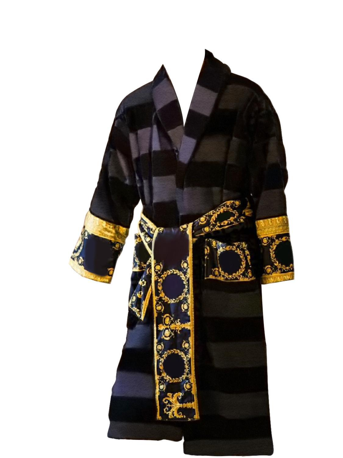 Versace style Men Casual Bathrobe