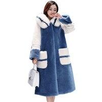 2019 New Winter Woolen Coat Women Thicken Fur collar Hooded lambswool Jackets Female Elegant Plus size Long Wool Outerwear G597