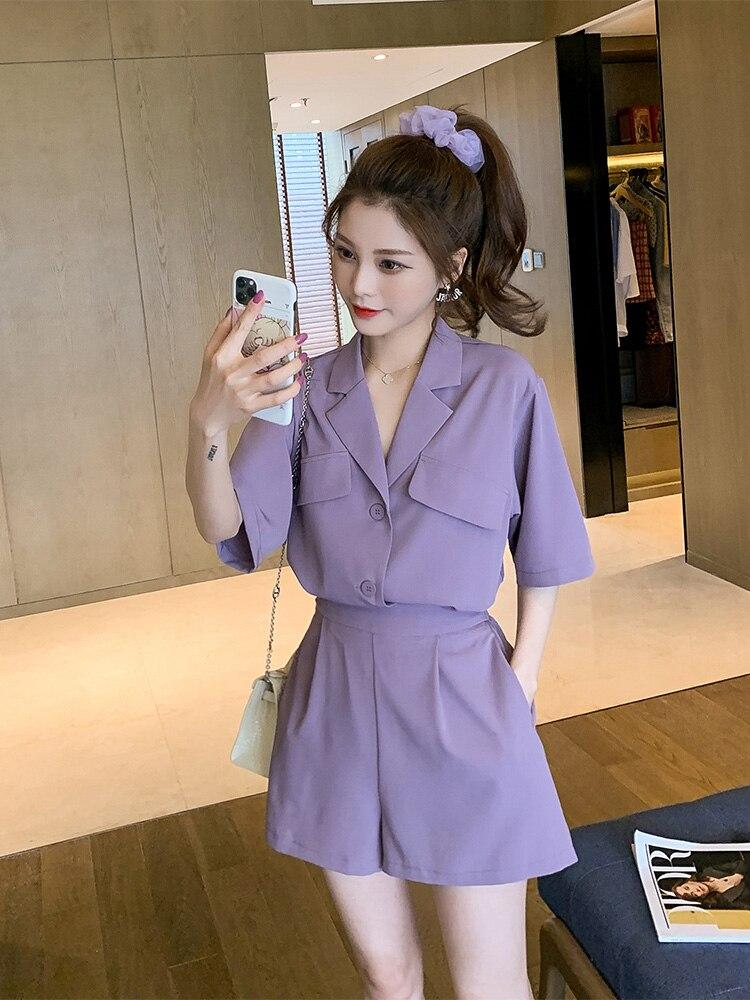 Лето 2020 новый корейский маленький костюм кардиган шорты костюм из двух предметов Спортивные костюмы      АлиЭкспресс