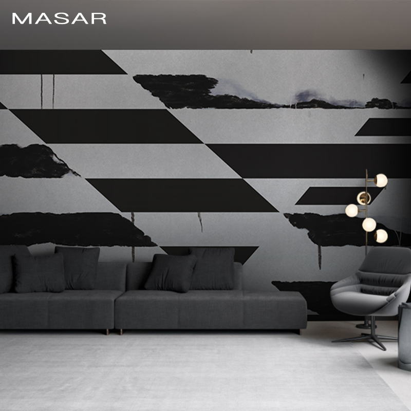 MASAR Personality Red Mural Bedroom Living Room Background Wall Wallpaper Black And White Wallpaper Ink Rhyme