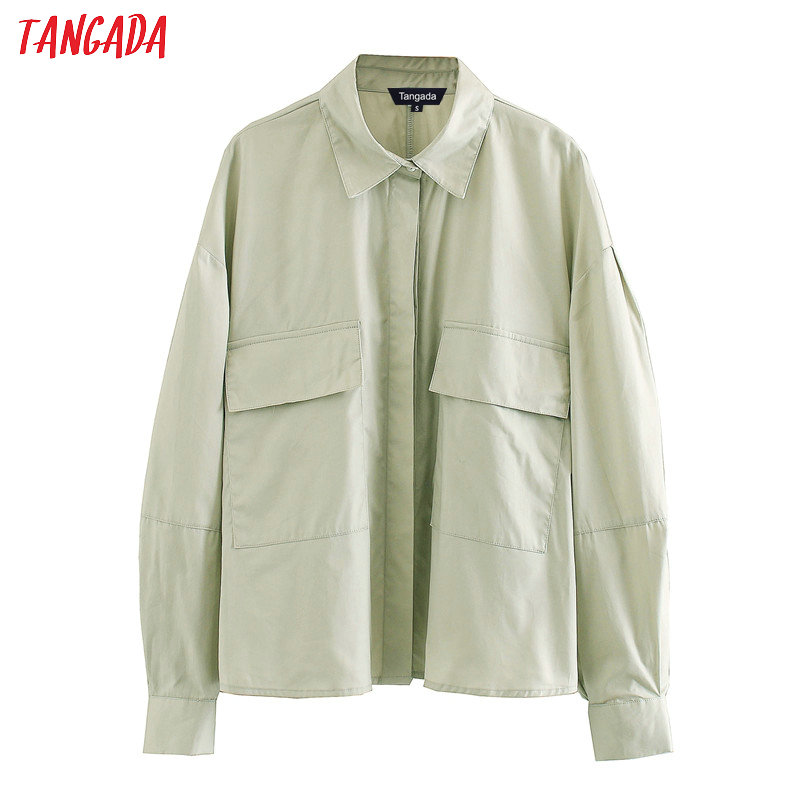 Tangada Women Solid Shirts Long Sleeve Pocket Boy Friend Style Casual Ladies Blouses Tops XN216
