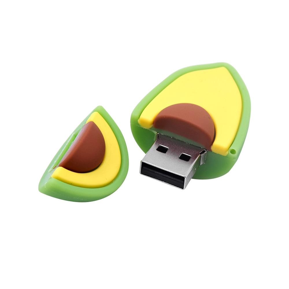 Karikatür meyve USB Flash sürücü 32GB sevimli limon Pendrives2.0 avokado depolama Disk Memory Stick gerçek kapasite 64GB komik hediye 128MB
