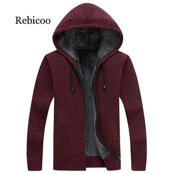 цена на 2019 Winter New Mens Fleece Sweatercoat Fashion Hooded Slim Fat Thicken Casual Sweater Men Cardigan Masculino M-3XL