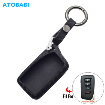 Z gumy węglowej obudowa kluczyka do samochodu dla Lexus GS-350 GS-450h ES-300h ES-350 LS 450H 300H RC 250 350 etui na pilota zdalnego sterowania akcesoria do breloków tanie i dobre opinie ATOBABI CN (pochodzenie) RUBBER Black Car key case For Lexus Auto accessories