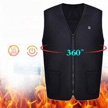 Для мужчин и женщин теплая USB Молния энергосберегающая куртка жилет пальто электрическое Отопление Регулируемая температура