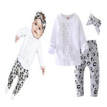 Bebê recém-nascido da criança roupas da menina manga longa algodão camiseta e calças de leopardo roupas infantis cacual treino outfit