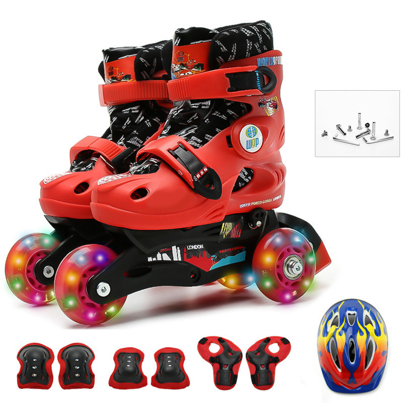 Kids Children Lovely Stable Balance Slalom Parallel Flashing Skate Roller Shoes Inline Adjustable Fall Prevention 6 Colors
