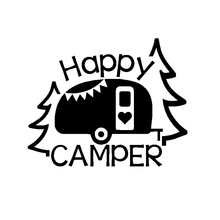Car Sticker Personalized Lettering Art Happy Camper Auto Motorcycles Exterior Accessories Reflective Vinyl Decals,16cm*12cm недорого