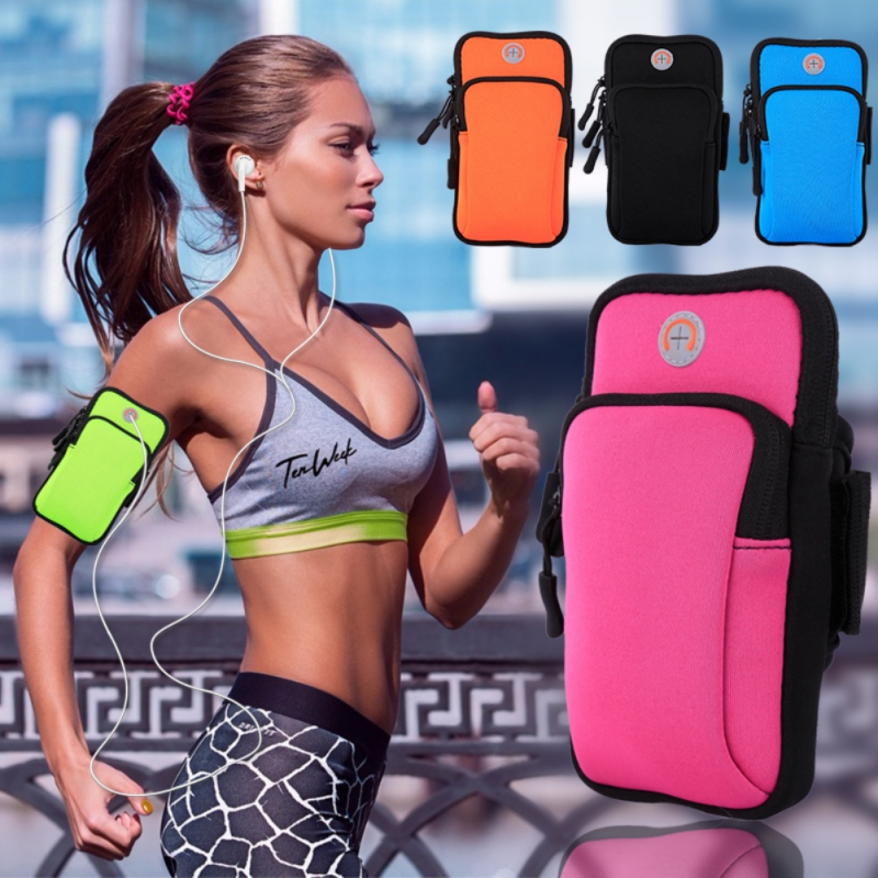 Zippered Fitness Running Arm Band Bag Pouch Adjustable Workout Jogging Cover For Mobile Phone Waterproof Sport Armband Case QW