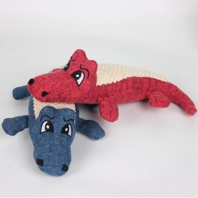 Pet Dog Toy Linen Plush Crocodile Animal Toy Dog Chew Squeaky Noise Toy Cleaning Teeth Supplies Toy Tough Interactive Doll 1PC 16