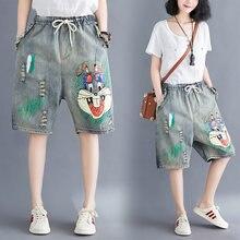 6870 mulheres verão moda estilo coreano rasgado coelho engraçado do vintage dos desenhos animados imprimir oversize senhora escritório casual solto shorts denim