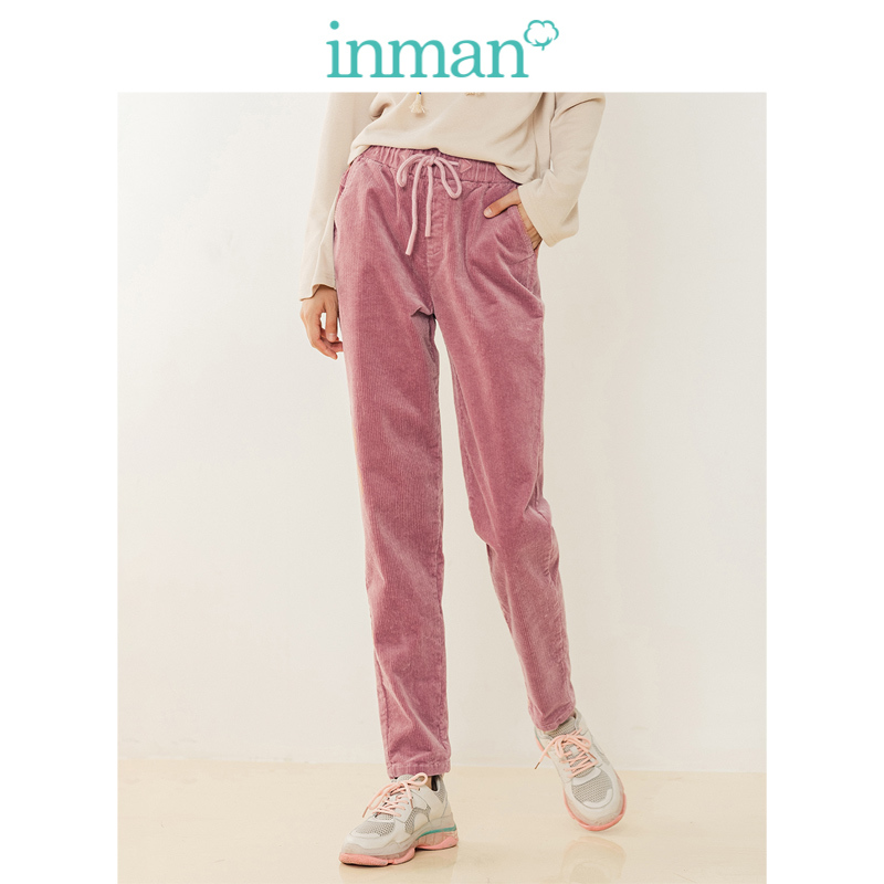 INMAN Spring Autumn Comfortable Elastic Cotton Harem Solid Corduroy Women Casual Pants
