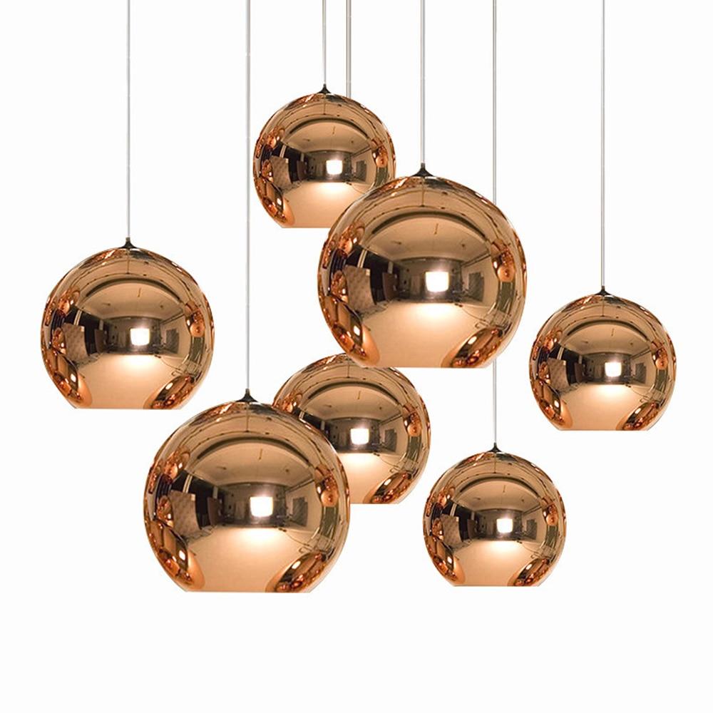 Modern Pendant Lights Copper Glass Mirror Ball LED Hanging Lamp Kitchen Living Room Lighting Home Fixtures Suspension Luminaire