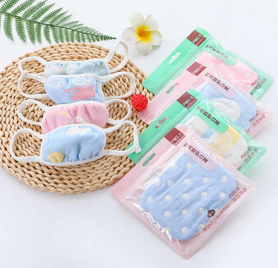 5PCS/lot 6 Layers Gauze Cotton Baby Kids Mask Dustproof Mouth Face Mask Animals Children Face Mouth Masks For Baby 1-12Yea