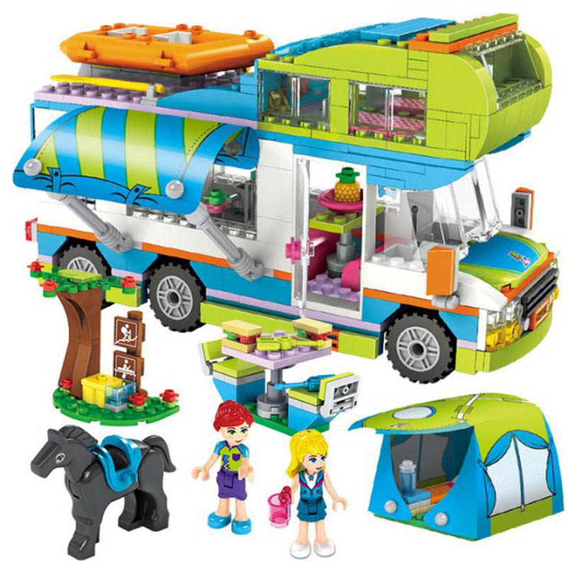 534pcs Legoinglys City Outing Camper Bus Car Girls Figures Building Blocks Friends Bricks Educational Toys For Girls Gift