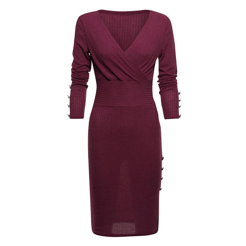 2019 Autumn Women Slim Dress Fashion Sexy Deep V-neck Button Long Sleeve Casual Knee-Length Dresses Elegant Dress Oc25