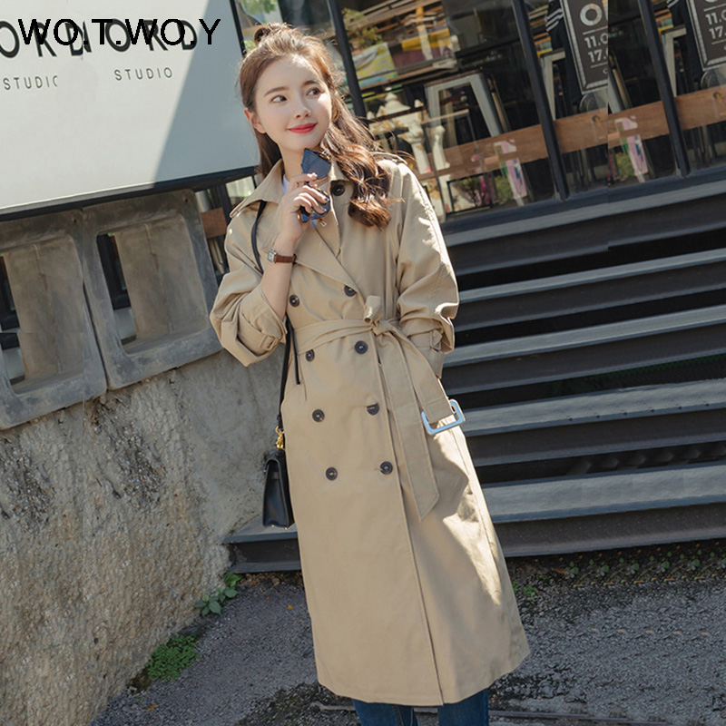 WOTWOY 2019 Autumn New Fashion Women's Slim   Trench   Coat Double Breasted Pockets Sashes Mid-Calf Outwear Office-ladies Clothing