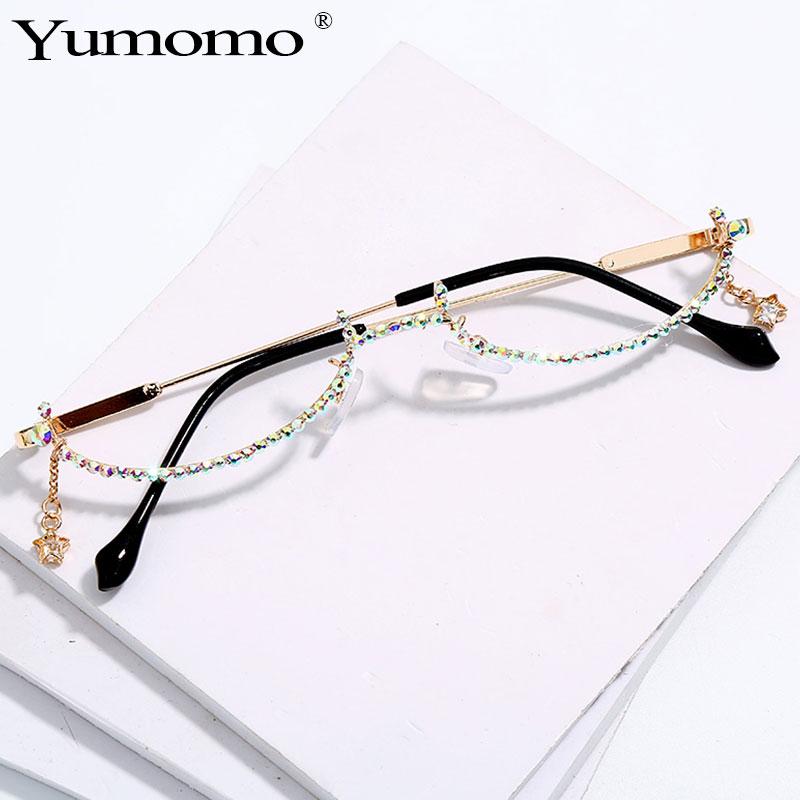 2019 Fashion Eyeglasses Alloy Frame For Women Star Drop Lensless Chain Pendant Decoration Half Frame Luxury Diamond Glasses