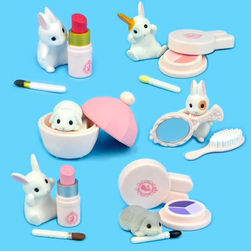 Japão genuíno cápsula brinquedo bonito animal de estimação beleza coelho maquiagem batom fundação miniatura figuras gashapon coleção presente