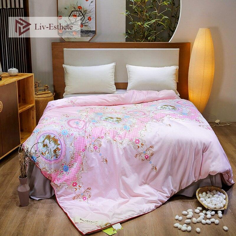 Liv-Esthete European Court 100% Mulberry Silk Pink Comforter/blanket/quilt/duvet For Summer&winter King Queen Handmade Bedding