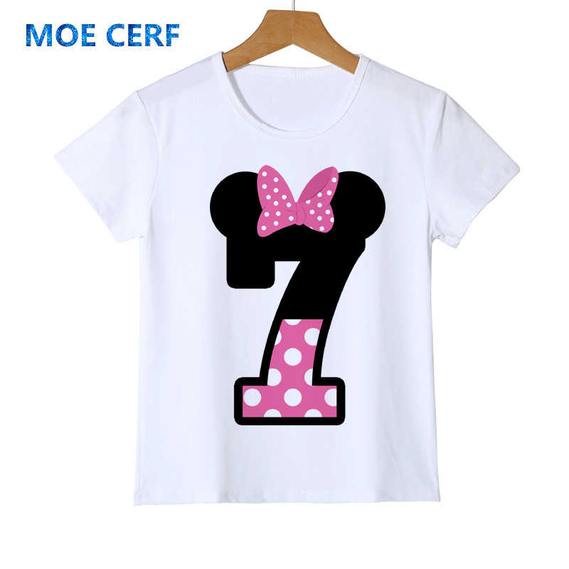 Happy Birthday T เสื้อการ์ตูนพิมพ์เสื้อผ้าเด็กน่ารักสาวยูนิคอร์นวันเกิดสีขาว Tee Y54-3