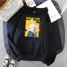 Fleece Sweatshirt Hoody Banana Fish Print Anime Japanese Mens Fashion Cartoon Pocket