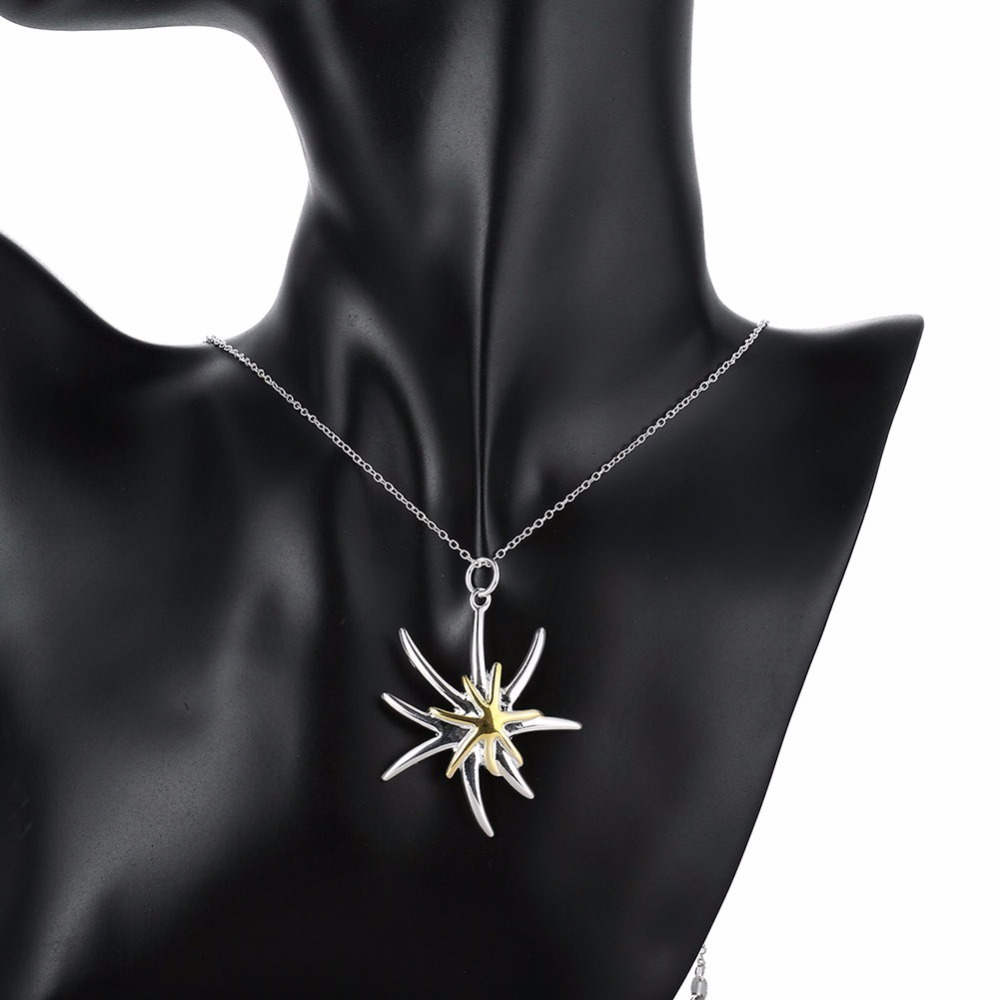 925 Sterling Silver Jewelry Fashion Starfish Pendant Necklace Simple Style Exquisite Cute Female Fine Jewelry Top Quality