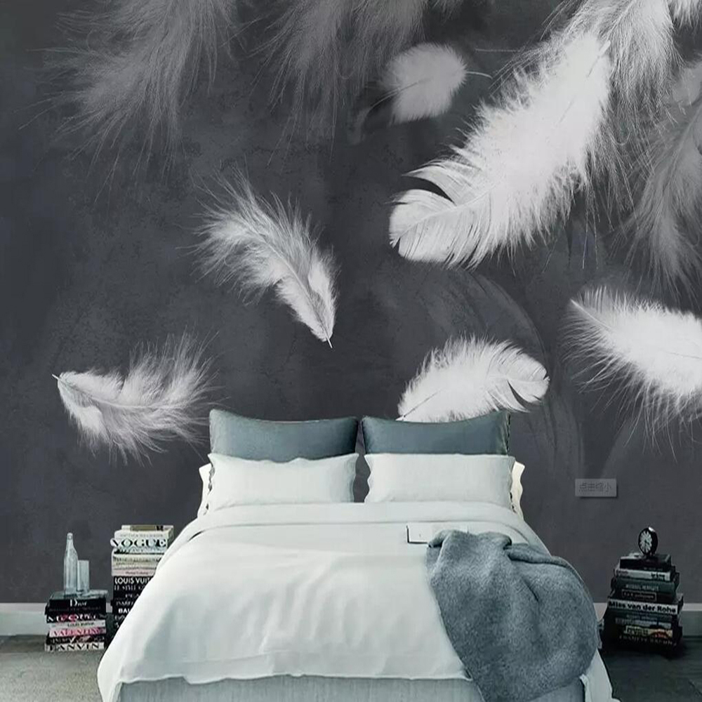 Milofi Custom Large 3D Wallpaper Mural Modern Minimalist White Feather Living Room Background Wall Decoration Wallpaper Mural