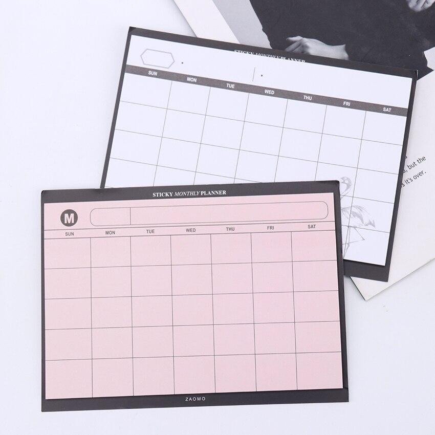 Folhas de plano de trabalho de estudo criativo, bloco de notas kawaii, plano semanal, caderno adesivo, material de escritório, artigos de papelaria, 1 peça/30 folhas