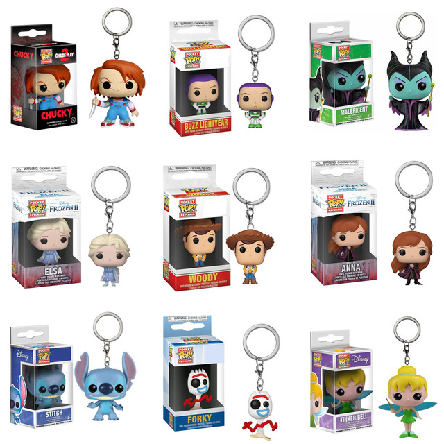 FUNKO POP Keychain Frozen Toy Story Elsa Anna Olaf Stitch Forky Decoration Models Pendant Chain Ring Figure Toys for Kids Gifts 1