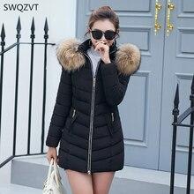 2019 New winter jacket women warm fur long coat cotton parka fashion slim thick