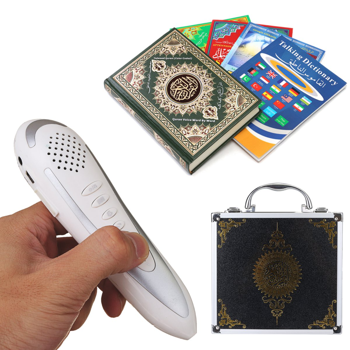 Digital Qur'an Book Reading Pen Set for Muslim Islam Kuran Reader Speaker & Player with Reciter Multi Language Kids Gift