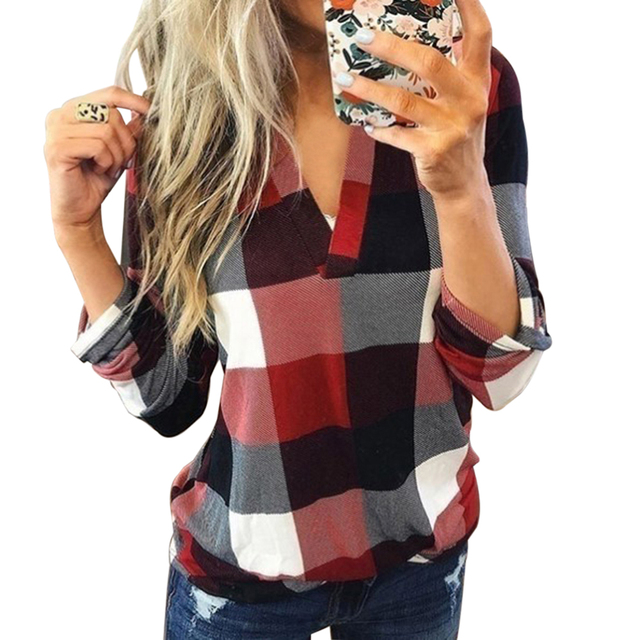 Women Casual Plaid Blouse Long Sleeve V Neck