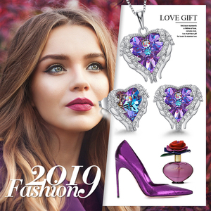Image 5 - Cdyle Angel Wings Heart Shaped Necklace Earrings Set Wedding Bridal Women Jewelry Set with Top Quality Crystal 4 Color Available