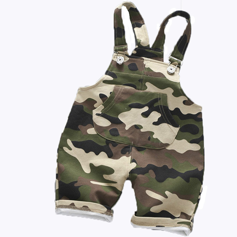 2020 Camouflage Bib Pants Summer Baby Boys Overalls Infants Children Clothing Cotton Girls Shorts Kids Strap Pant Costume 12M-4Y