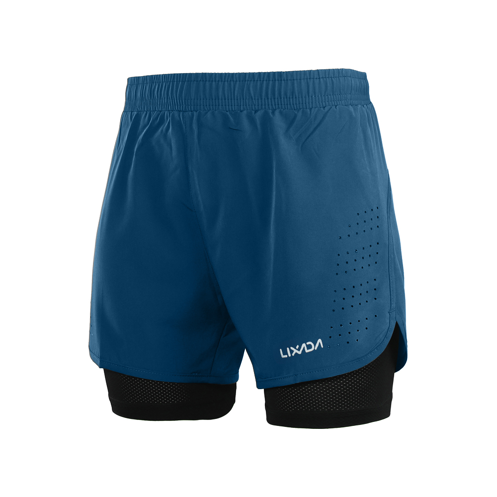 Lixada Men's 2-in-1 Running Sport Shorts Quick Drying Breathable Gym Training Exercise Jogging Cycling Shorts With Longer Liner 14
