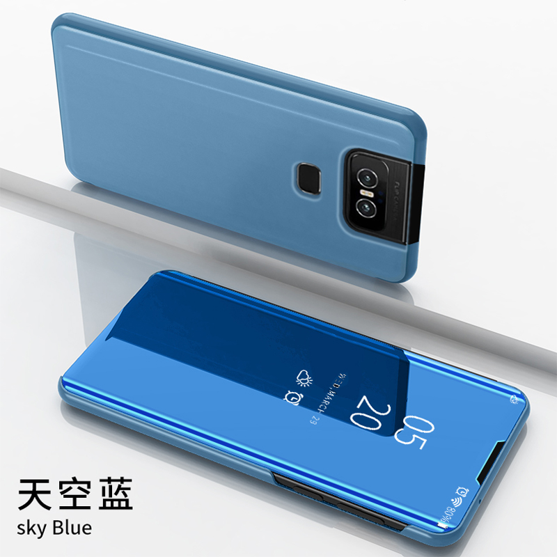Thouport Mirror Case For <font><b>Asus</b></font> <font><b>Zenfone</b></font> <font><b>6</b></font> <font><b>ZS630KL</b></font> Flip Cover Cases For <font><b>Asus</b></font> 6z <font><b>Zenfone</b></font> <font><b>6</b></font> <font><b>2019</b></font> Case Book Style Protector image