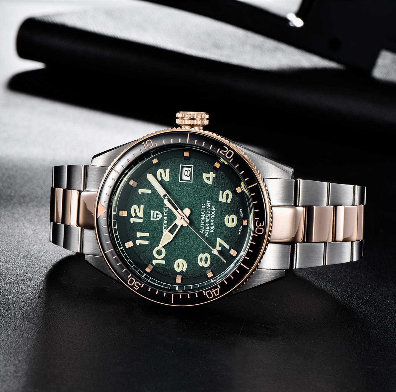 パガーニデザイン機械式時計の男性自動グリーン防水高級ビジネススポーツNH35Aダイバー腕時計時計レロジオmasculino