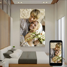 Personalização figura foto impressão personalizada lona poster retrato família crianças animais de estimação casamento vestido foto moldura diy